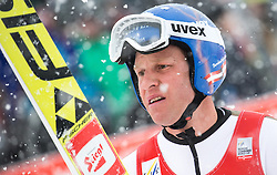 31.01.2016, Casino Arena, Seefeld, AUT, FIS Weltcup Nordische Kombination, Seefeld Triple, Skisprung, Wertungssprung, im Bild Bernhard Gruber (AUT) // Bernhard Gruber of Austria reacts after his Competition Jump of Skijumping of the FIS Nordic Combined World Cup Seefeld Triple at the Casino Arena in Seefeld, Austria on 2016/01/31. EXPA Pictures © 2016, PhotoCredit: EXPA/ Jakob Gruber