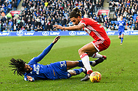 Football - 2017 / 2018 Sky Bet EFL Championship - Cardiff City vs. Middlesbrough<br /> <br /> Armand Traore of Cardiff City tackled by Ryan Shotton of Middlesbrough, at Cardiff City Stadium.<br /> <br /> COLORSPORT/WINSTON BYNORTH