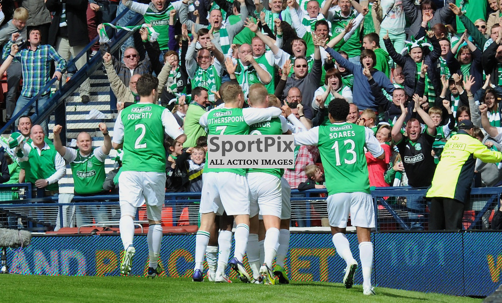 Hibs players celebrate with their fans on the scoring of their second goal in the William Hill Scottish Cup Semi Final at Hampden Park, Glasgow between Aberdeen and HIbernian on 14th April 2012.