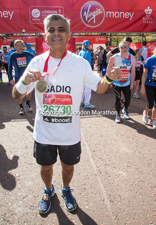Sadiq Khan MP for Tooting at the end of the Virgin Money London Marathon 2014 on Sunday 13 April 2014<br /> Photo: Roger Allan/Virgin Money London Marathon<br /> media@london-marathon.co.uk