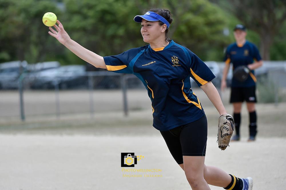 Action from the Softball - National Qualifying Tournament at Fraser Park, Lower Hutt, New Zealand on Wednesday 25 February 2015. <br /> Photo by Masanori Udagawa. <br /> www.photowellington.photoshelter.com.