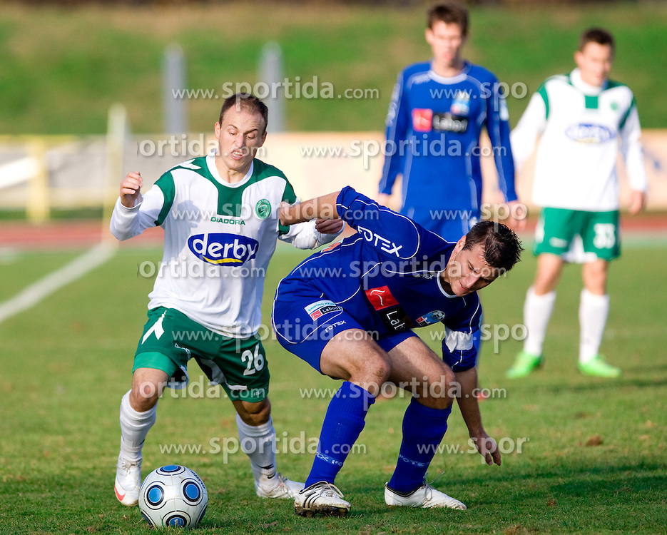 Davor Skerjanc of Olimpija vs Rok Marinic of Drava at 18th Round of PrvaLiga football match between NK Olimpija and NK Labod Drava, on November 21, 2009, in ZAK, Ljubljana, Slovenia. Olimpija defeated Drava 3:0. (Photo by Vid Ponikvar / Sportida)
