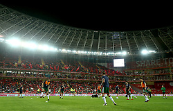 A general view as Republic of Ireland players warm-up before kick-off in the international friendly match at the Antalya Stadium.