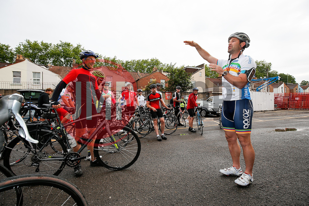 Cyclists are briefed at the start of the day by Ben Breeze before they take part in Break the Cycle, a 110 mile charity bike ride organised by the Bristol, Bath and Gloucester Rugby Community Foundations, visiting their respective stadia, Ashton Gate, The Recreation Ground and Kingsholm Stadium - Photo mandatory by-line: Rogan Thomson/JMP - 07966 386802 - 14/06/2015 - SPORT - Cycling - Bristol, England - Ashton Gate Stadium.