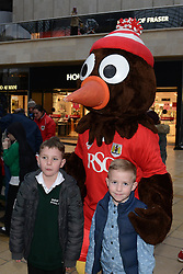 Bristol City fans with Scrumpy - Photo mandatory by-line: Dougie Allward/JMP - Mobile: 07966 386802 - 11/03/2015 - SPORT - Football - Bristol - Cabot Circus Shopping Centre - Johnstone's Paint Trophy