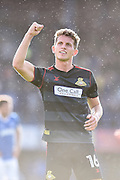 Doncaster Rovers Midfielder, Jordan Houghton (16) celebrates at the final whistle during the EFL Sky Bet League 2 match between Portsmouth and Doncaster Rovers at Fratton Park, Portsmouth, England on 1 October 2016. Photo by Adam Rivers.