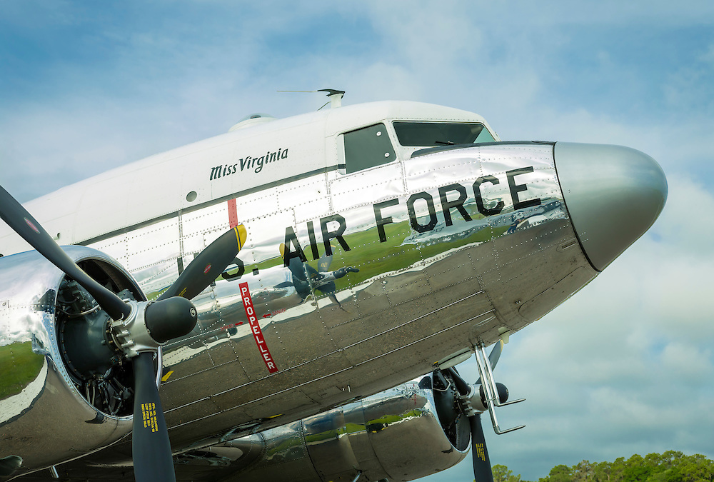 """Miss Virginia"", a restored US Air Force DC-3, owned and flown by Dynamic Aviation of Bridgewater, Virginia.  Created by aviation photographer John Slemp of Aerographs Aviation Photography. Clients include Goodyear Aviation Tires, Phillips 66 Aviation Fuels, Smithsonian Air & Space magazine, and The Lindbergh Foundation.  Specialising in high end commercial aviation photography and the supply of aviation stock photography for commercial and marketing use."