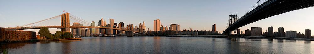The New York skyline with the Brooklyn and Manhattan Bridges. ..July 7, 2009..Photo by Angela Jimenez.angelajimenezphotography.com