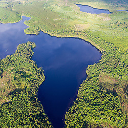 Lang and Little Lang Ponds (top), and Cold Stream Pond surrounded by industrial timberland in Maine's Northern Forest.