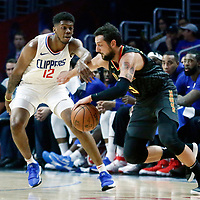 08 January 2018: Atlanta Hawks guard Marco Belinelli (3) drives past LA Clippers guard Tyrone Wallace (12) during the LA Clippers 108-107 victory over the Atlanta Hawks, at the Staples Center, Los Angeles, California, USA.