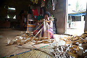 Woman weaving mats, Island of Taveuni, Fiji, Melanesia, South Pacific