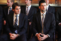 19.11.2010, Marriott County hall, London, ENG, ATP World Tour, Finals, im Bild Djokovic, Novak (SRB) and Federer, Roger (SUI). EXPA Pictures © 2010, PhotoCredit: EXPA/ InsideFoto/ Hasan Bratic +++++ ATTENTION - FOR AUSTRIA/AUT, SLOVENIA/SLO, SERBIA/SRB an CROATIA/CRO CLIENT ONLY +++++