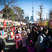 TOKYO, JAPAN - JANUARY 1 : People enjoy traditional street food after offering a prayer at Sensoji Buddhist temple Asakusa district in Tokyo on Sunday, January 1, 2017. Japan celebrated the start of 2017 for the Year of the Rooster. (Photo by Richard Atrero de Guzman/NURPhoto)