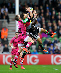 Danny Care of Harlequins claims the ball in the air - Photo mandatory by-line: Patrick Khachfe/JMP - Mobile: 07966 386802 04/10/2014 - SPORT - RUGBY UNION - London - The Twickenham Stoop - Harlequins v London Welsh - Aviva Premiership