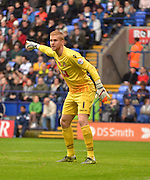 Bolton Goalkeeper, Ben Amos organises the wall for a corner during the Sky Bet Championship match between Bolton Wanderers and Bristol City at the Macron Stadium, Bolton, England on 7 November 2015. Photo by Mark Pollitt.