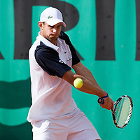 29 May 2007: Andy Roddick of United States of America returns a backhand to Igor Andreev of Russia during the Men's Singles 1st round match, won 3-6, 6-4, 6-3, 6-4 by Igor Andreev over Andy Roddick, on day three of the French Open at Roland Garros in Paris, France.