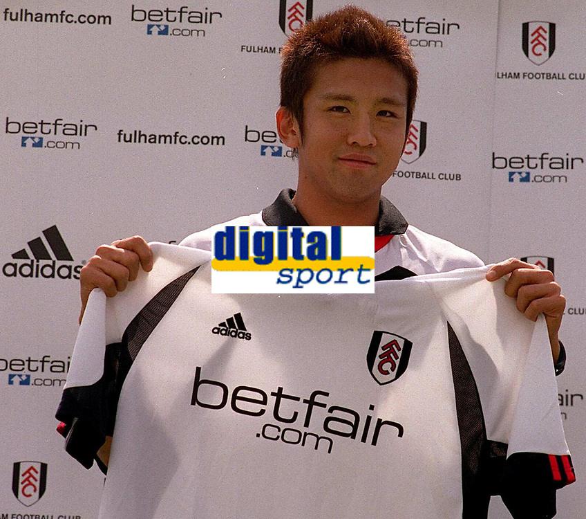 Fotball. Premier League 2002/2003. 19.07.2002.<br /> Fulhams nyervervelse Junichi Inamoto på klubbens pressekonferanse.<br /> Foto:  Andrew Cowie, Digitalsport
