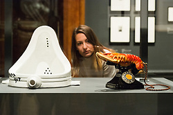 © Licensed to London News Pictures. 03/10/2017. London, UK. Artwork titled Fountain by artist Marcel Duchamp and sculpture titled Lobster Telephone, 1938, by  Salvador Dali are showing as part of the Dali/Duchamp exhibition showing at the Royal Academy. Photo credit: Ray Tang/LNP
