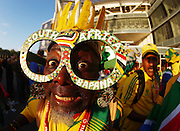 A South African fan with funny glasses gets in the mood during the International friendly between Germany and South Africa on the 5th September 2009 at Bay Arena Leverkusen, Germany.