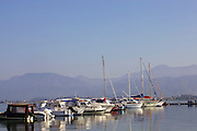 An early morning view looking out across the bay of Fethiye, Turkey.