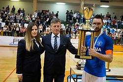 Cup for second placed team FC Litija during futsal match between FC Litija and FC Dobovec Pivovarna Kozel in Final of 1.SFL 2017/18, on May 18, 2018 in Sports hall Litija, Litija, Slovenia. Photo by Urban Urbanc / Sportida