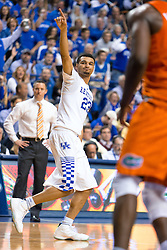 Kentucky guard Jamal Murray celebrates a three point basket in the first half.<br /> <br /> The University of Kentucky hosted the University of Florida, Saturday, Feb. 06, 2016 at Rupp Arena in Lexington .