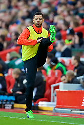 LIVERPOOL, ENGLAND - Saturday, January 28, 2017: Liverpool's substitute Kevin Stewart warms-up during the FA Cup 4th Round match against Wolverhampton Wanderers at Anfield. (Pic by David Rawcliffe/Propaganda)