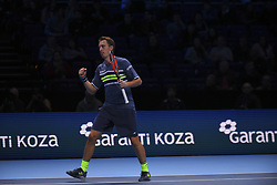 November 19, 2017 - London, England, United Kingdom - Henri Kontinen of Finland celebrates a point against Lukasz Kubot of Poland and Marcelo Melo of Brazil (1) in the doubles final today - Kontinen / Peers def Kubot / Melo 6-4, 6-2 at O2 Arena on November 19, 2017 in London, England. (Credit Image: © Alberto Pezzali/NurPhoto via ZUMA Press)