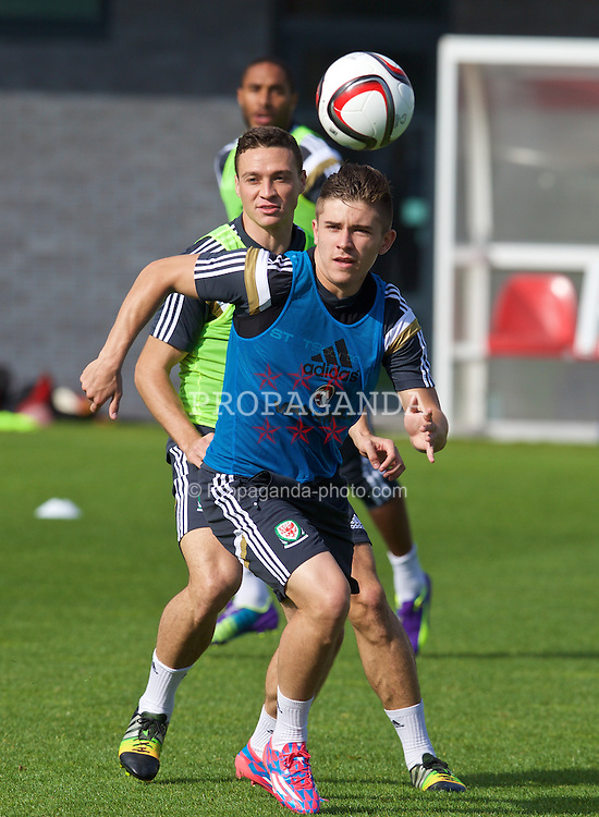 NEWPORT, WALES - Wednesday, October 8, 2014: Wales' Declan John training at Dragon Park National Football Development Centre ahead of the UEFA Euro 2016 qualifying match against Bosnia and Herzegovina. (Pic by David Rawcliffe/Propaganda)