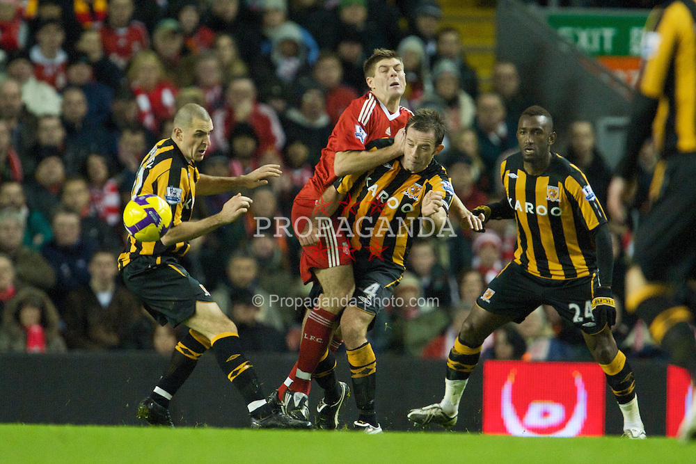 LIVERPOOL, ENGLAND - Saturday, December 13, 2008: Liverpool's captain Steven Gerrard MBE and Hull City's Ian Ashbee during the Premiership match at Anfield. (Photo by David Rawcliffe/Propaganda)