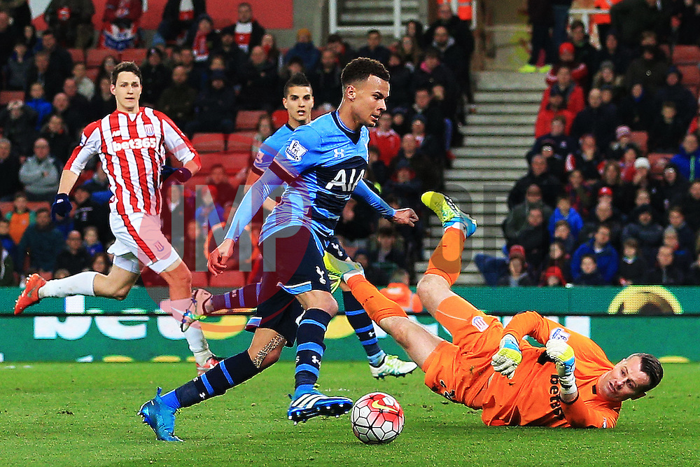Dele Alli of Tottenham Hotspur takes the ball around Shay Given of Stoke City but hits the post  - Mandatory by-line: Matt McNulty/JMP - 18/04/2016 - FOOTBALL - Britannia Stadium - Stoke, England - Stoke City v Tottenham Hotspur - Barclays Premier League