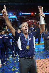 TEAM USA HEAD COACH KARCH KIRALY<br /> AWARDING CEREMONY<br /> VOLLEYBALL WOMEN'S WORLD CHAMPIONSHIP 2014<br /> MILAN 12-10-2014<br /> PHOTO BY FILIPPO RUBIN