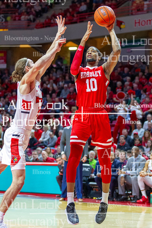 NORMAL, IL - February 16: Elijah Childs shoots over defender Matt Chastain during a college basketball game between the ISU Redbirds and the Bradley Braves on February 16 2019 at Redbird Arena in Normal, IL. (Photo by Alan Look)