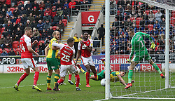 Norwich City's (second right) Ben Godfrey scores his side's second goal of the game during the Sky Bet Championship match at the AESSEAL New York Stadium, Rotherham.