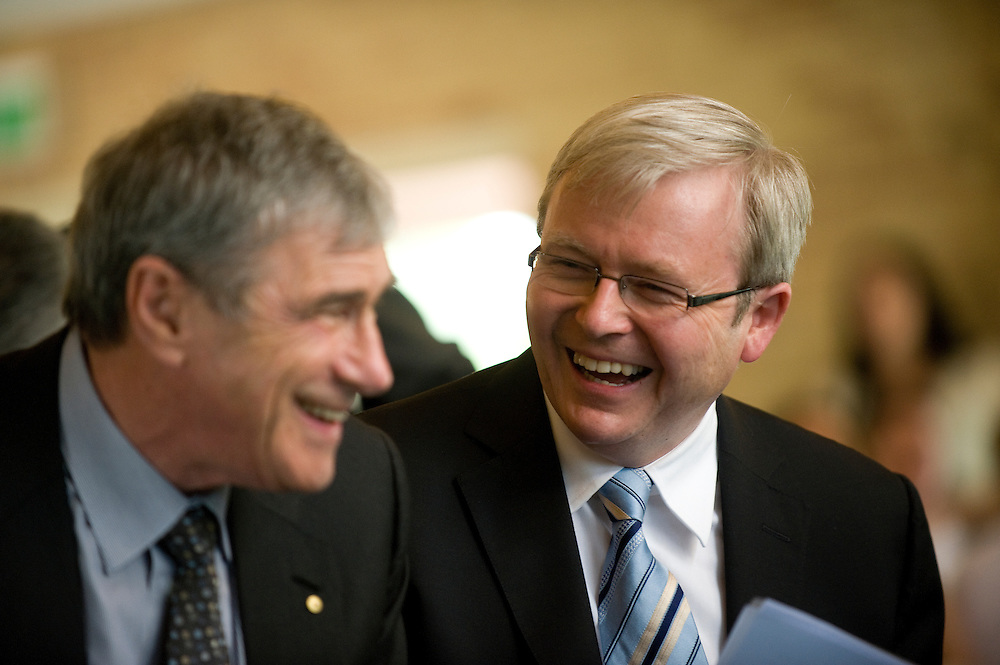 Seven Network chairman Kerry Stokes shares a joke with Prime Minister Kevin Rudd at the Teen Challenge Grace Academy, a residential rehabilitation and detox centre in Esperance.