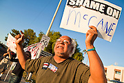 26 SEPTEMBER 2010 - PHOENIX, AZ: Paul Sanchez, from Phoenix, shouts his opposition to Sen. John McCain during a demonstration against the Senator Sunday. About 200 people demonstrated and picketed against Arizona Republican Senator John McCain at the studios of KTVK TV in Phoenix, Sunday, Sept 26. They picketed the TV station because McCain was debating his opponents there. They were demonstrating against McCain's positions on the war in Afghanistan, Don't Ask Don't Tell (Gays in the military) and the DREAM Act (for immigrant rights). PHOTO BY JACK KURTZ