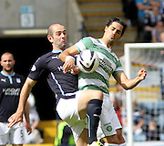 Dundee's Gary Harkins and Celtic's Biram Kayal - Dundee v Celtic SPFL Premiership at Dens Park<br />