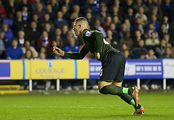 READING, ENGLAND - Tuesday, September 22, 2015: Everton's Ross Barkley celebrates scoring the equalising goal against Reading during the Football League Cup 3rd Round match at the Madejski Stadium. (Pic by David Rawcliffe/Propaganda)