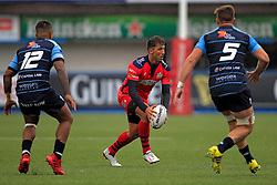 Gavin Henson of Bristol Rugby (C) in action with Rey Lee Lo (L) and Cam Dolan of Cardiff Blues - Mandatory by-line: Ian Smith/JMP - 20/08/2016 - RUGBY - BT Sport Cardiff Arms Park - Cardiff, Wales - Cardiff Blues v Bristol Rugby - Pre-season friendly