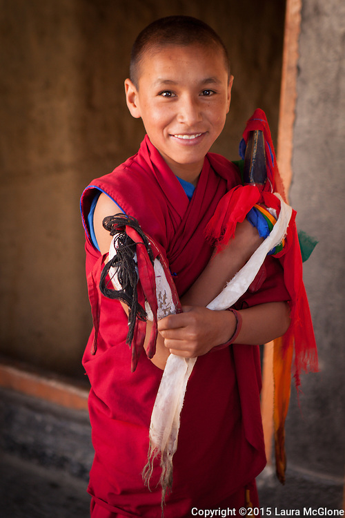 Novice Monk at Kye Tibetan Buddhist Monastery, Spiti Valley, India