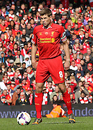 Steven Gerrard of Liverpool in action against Newcastle United during the Barclays Premier League match at Anfield, Liverpool.<br /> Picture by Michael Sedgwick/Focus Images Ltd +44 7900 363072<br /> 11/05/2014