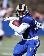 Los Angeles Rams running back Todd Gurley (30) tries to break away from a defender who pulls his jersey as he runs the ball during the Los Angeles Rams 2016 NFL training camp football practice held on Tuesday, Aug. 2, 2016 in Irvine, Calif. (©Paul Anthony Spinelli)