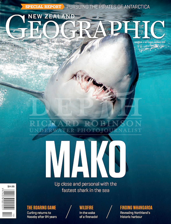 NEW ZEALAND GEOGRAPHIC ISSUE 135 SEPTEMBER- OCTOBERT 2015.<br /> Speed Demon: Mako.<br /> New Zealand Geographic &copy; 2015.<br /> Photograph Richard Robinson &copy; 2015.