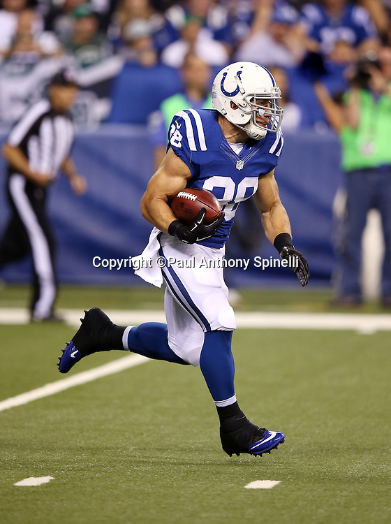 Indianapolis Colts fullback Tyler Varga (38) returns a fourth quarter kick during the 2015 NFL week 2 regular season football game against the New York Jets on Monday, Sept. 21, 2015 in Indianapolis. The Jets won the game 20-7. (©Paul Anthony Spinelli)