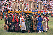 Archers at opening ceremony<br /> Naadam festival<br /> Ulaanbaatar race track<br /> Mongolia