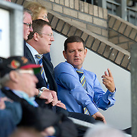 St Johnstone v Bristol City....28.07.12  Pre-Season Friendly<br /> Saints Chairman Steve Brown talks with Roddy Grant<br /> Picture by Graeme Hart.<br /> Copyright Perthshire Picture Agency<br /> Tel: 01738 623350  Mobile: 07990 594431