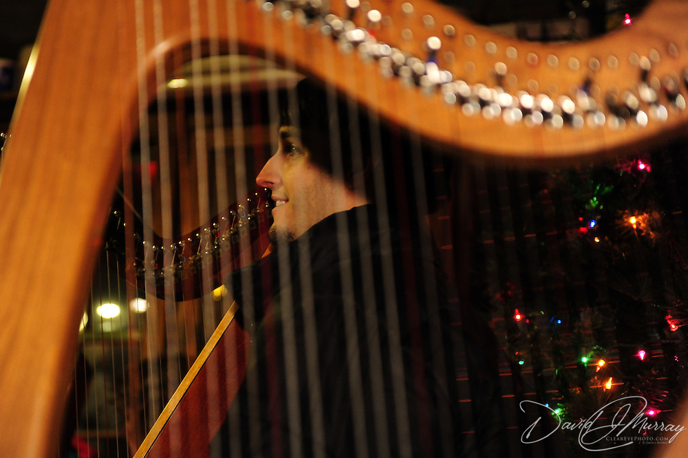 Celtic Harps and harpists during Candle Light Stroll at Strawbery Banke, Portsmouth, NH Dec. 2010