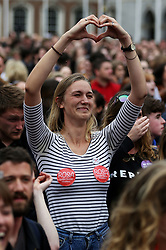 People celebrate at Dublin Castle as the official results of the referendum on the 8th Amendment of the Irish Constitution are announced in favour of the yes vote. Picture date: Saturday May 26, 2018. See PA story IRISH Abortion. Photo credit should read: Brian Lawless/PA Wire