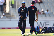 Adil Rashid  and Moeen Ali warm up during the International T20 match between England and India at Old Trafford, Manchester, England on 3 July 2018. Picture by George Franks.