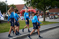 Rachel Neylan (AUS) and her Movistar Women's Team teammates on the way back from sign on at Ladies Tour of Norway 2018 Stage 1, a 127.7 km road race from Rakkestad to Mysen, Norway on August 17, 2018. Photo by Sean Robinson/velofocus.com